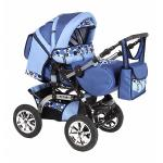 Коляска трансформер Marimex Fabio, надувные колеса (синий/голубой с принтом)